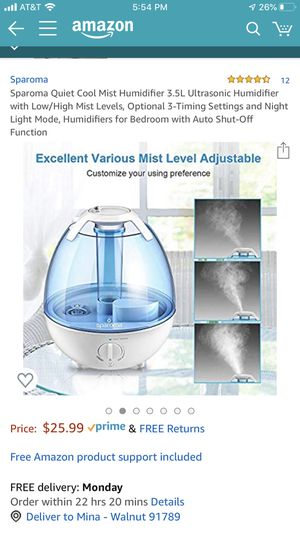Cool mist quiet night light humidifier, filter-free! for Sale in City of Industry, CA