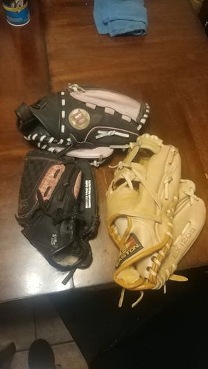 Softball and baseball gloves for Sale in Stockton, CA