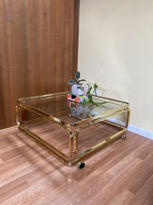1970's Vintage Milo Boughman style glass and brass coffee table for Sale in Tigard, OR
