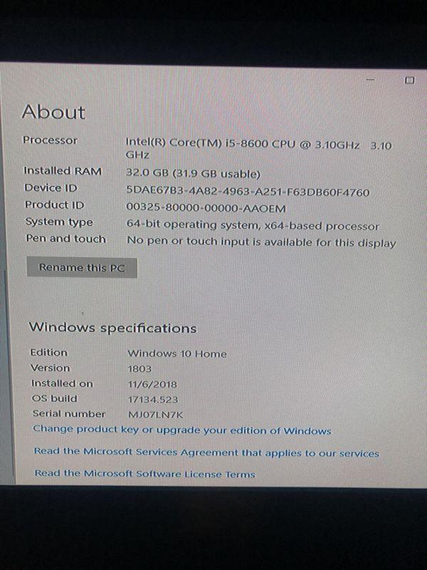 Lenovo ThinkCentre M720 Tower 3.1 GHz 32gb RAM