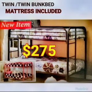 METTAL BUNK BED TWIN TWIN WITH MATTRESSES for Sale in Hawthorne, CA