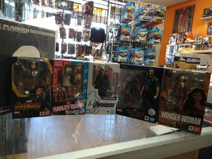 Shfiguarts used complete 45 each Captain America Harley Quinn Black widow Tony Stark's Wonder woman for Sale in Phoenix, AZ