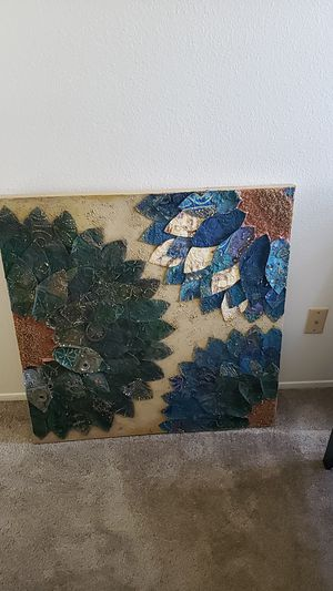 Beautiful like new blue green and beige canvas wall art from Pier 1 for Sale in Oceanside, CA