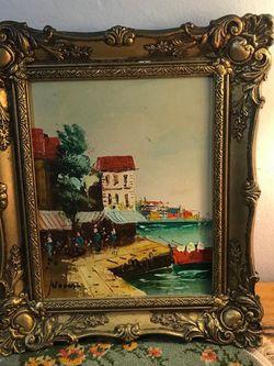 Cuadro Pintura Óleo Diseño Paisaje Antiguo Mide 14x11 Plg for Sale in Hialeah,  FL