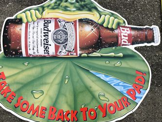 """Budweiser Anheuser-Busch Frog """"Take Some Back To Your Pad"""" metal embossed sign for Sale in Bothell,  WA"""