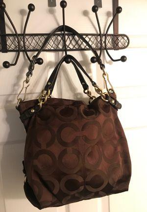 "Coach 14147 Op Art Signature Jacquard Brown Canvas Hobo Bag 12""L x 4""W x 11""H for Sale in Sanford, FL"