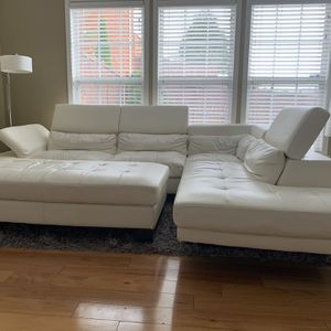 White Leather Sectional Sofa, Ottoman And Grey Rug for Sale in Brentwood, TN