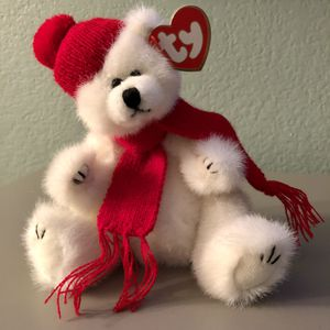 Vintage 1993 Ty Peppermint White Teddy Bear moveable arms and legs for Sale in Corona, CA