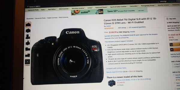 T6i canon camera with extra lens