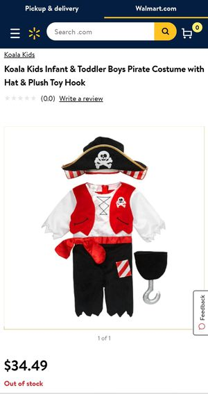 Infant & Toddler Pirate Costume with Hat & Plush Toy Hook for Sale in Portland, OR