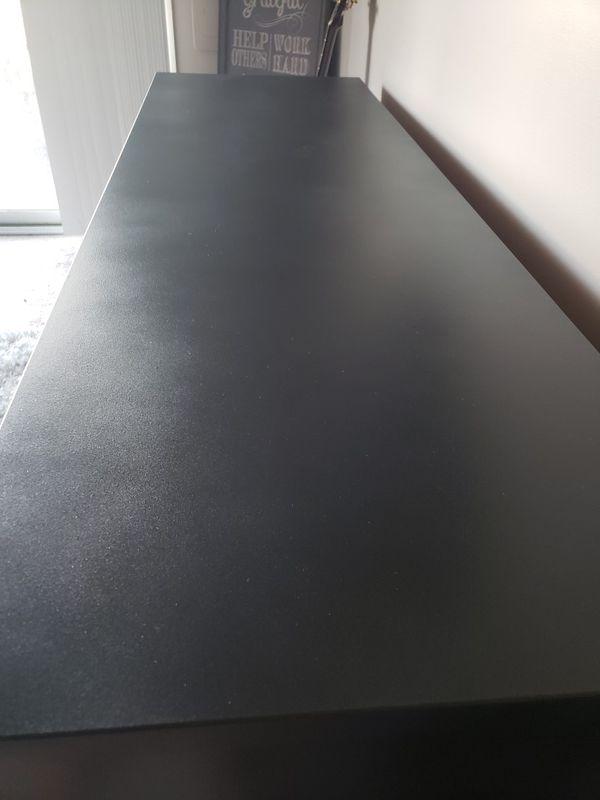 Matte black and wood mid century moder dresser// refinished MCM credenza