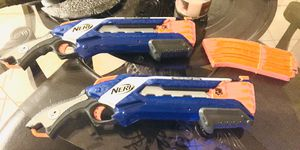 Rough-cut Nerf guns two of them plus an extra bullet pack for Sale in Sachse, TX