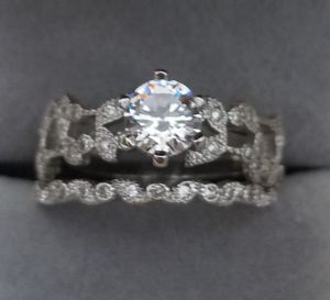 S925 Sterling Silver Simulated Diamond Wedding Ring Set Size 7,8 for Sale in Aspen Hill, MD