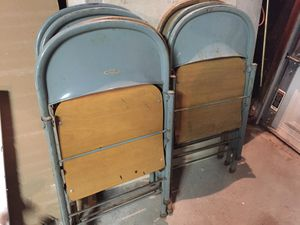 7 Metal Foldable Chairs 5 blue, 2 beige for Sale in Pepper Pike, OH
