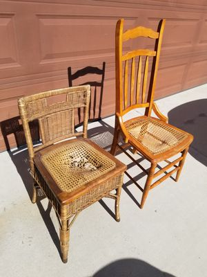 Antique wooden wicker chairs for Sale in Calimesa, CA
