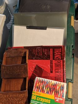 FREE BINDERS, CRAYONS AND WOODEN MAIL HOLDER.. for Sale in Fremont,  CA