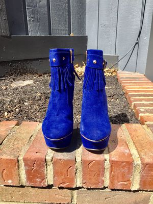 Blue Fringe Wedge Womens Boots for Sale in Waite Hill, OH