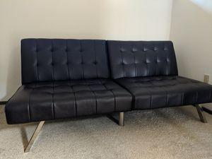 Black faux leather futon for Sale in Steilacoom, WA