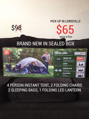 6 PIECE CAMPING COMBO - BRAND NEW IN SEALED BOX (4 PERSON INSTANT TENT, 2 CHAIRS, 2 SLEEPING BAGS, LED LANTERN) ALL IN SEALED BOX for Sale in Lewisville, TX