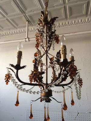 "Small Ornate Crystal Glass Chandelier 17"" w for Sale in Chicago, IL"