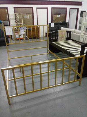 New gold metal bed frame -queen for Sale in Martinsburg, WV