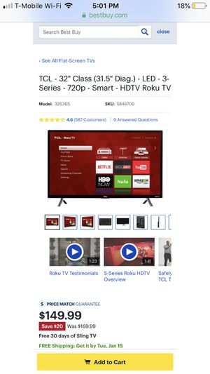"32"" TCL smart tv with Roku for Sale in DeKalb, IL"