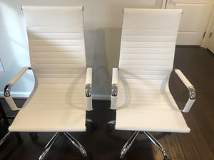 White Conference/Desk Chairs (2) for Sale in Laurel, MD