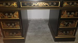 ANTIQUE DESK with GLASS TOP for Sale in Fort Lauderdale, FL