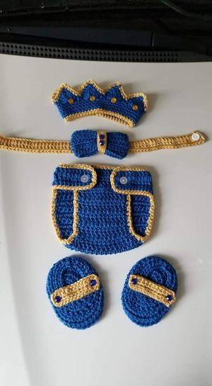 Crochet Baby Boy Prince Diaper Cover Outfit for Sale in Plant City, FL