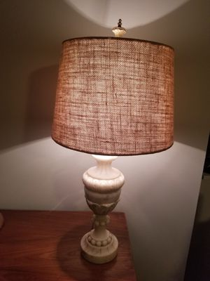 Antique alabaster marble lamp with new burlap shade for Sale in Canal Winchester, OH