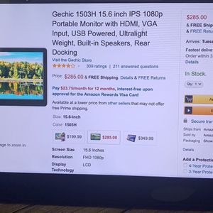 "GeChic 1503 Portable 15"" 1080p Monitor - Perfect 2nd Display! for Sale in Chandler, AZ"