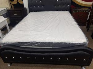 No credit black rhinestone queen size platform bed frame only for Sale in Beltsville, MD