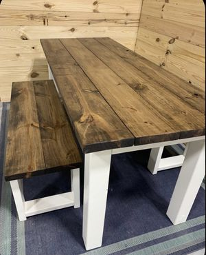 Rustic Farmhouse Table Set with Benches, Provincial Brown Base and White Base Dining Set . Made by order !!! Juego de comedor estilo rústico farmhous for Sale in Miami, FL