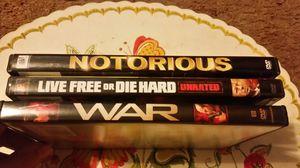 DVD Movie Bundle: War, Die Hard 4, Notorious for Sale in San Bernardino, CA