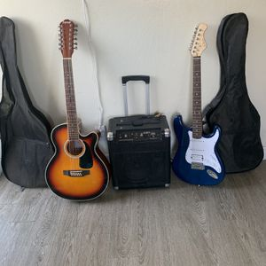12 string guitar and a 6 string electric bass guitar for trade for Sale in Hayward, CA