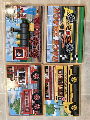 Mellisa Doug 4 vehicles wooden puzzle like new for Sale in San Jose, CA