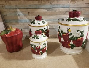Beautiful apple cannisters for Sale in Victoria, TX
