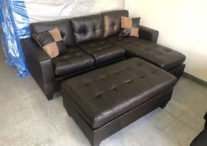 Brand New Espresso Bonded Leather Sectional Sofa Couch + Ottoman for Sale in Silver Spring, MD