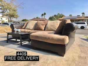 Brown Tan Sectional Sofa Faux Leather & Fabric FREE DELIVERY for Sale in Las Vegas, NV