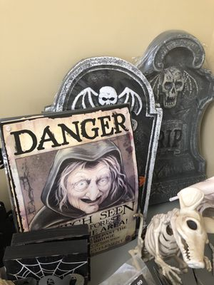 (2) tombstones and a witch sign $25 NEW for Sale in Sierra Madre, CA