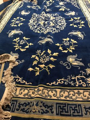 13 FEET LONG BLUE, WHITE WITH A HINT OF GREEN THICK HAND KNOTTED ASIAN RUG for Sale in Aurora, CO