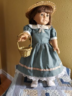 Quality hand-sewn calico dress and eye-let bloomers, and straw hat and basket. Made for 18 inch or AmericanGirlDoll. (doll not included). for Sale in Lacey, WA