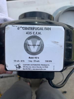6' Valueline Centrifugal Grow Fan 435 C.f.m. for Sale in Buena Park, CA