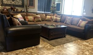 Leather and fabric sectional and single sofa for Sale in Chandler, AZ