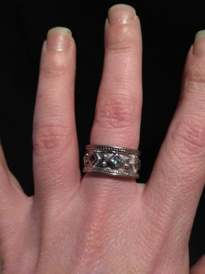 Beautiful Thick Stamped 925 Sterling Silver Band Intricate With Braid Amethyst Aquamarine Ruby Peridot Citrine Princess Cut 5 Stone Ring for Sale in Gresham, OR