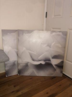 Print Art Canvas - white flower for Sale in Salt Lake City, UT