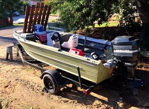 16 ft Fishing boat with great motor and includes trailer. Bass boat. SELLING AS IS. Best Offer for Sale in Winchester, CA