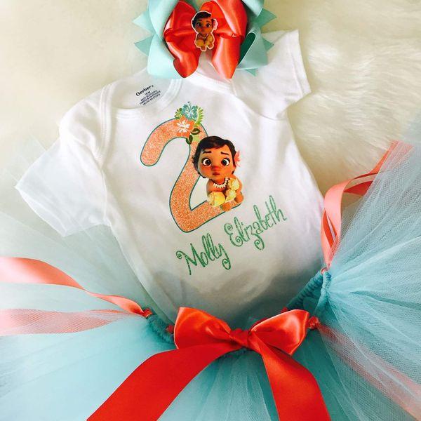 Baby Moana Birthday Tutu Outfit Set