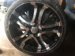 "Set of 20"" black and chrome rims w/ tires for Sale in Nashville, TN"