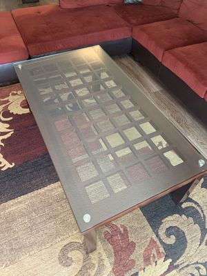Wood coffee table with glass top for Sale in Newport Beach, CA